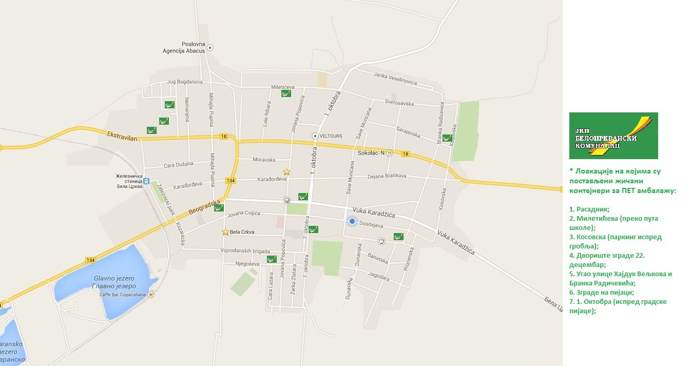 bela crkva mapa Мапа са обележеним локацијама на којима се налазе контејнери за  bela crkva mapa